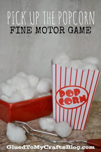 Pick Up The Popcorn {Fine Motor Game}