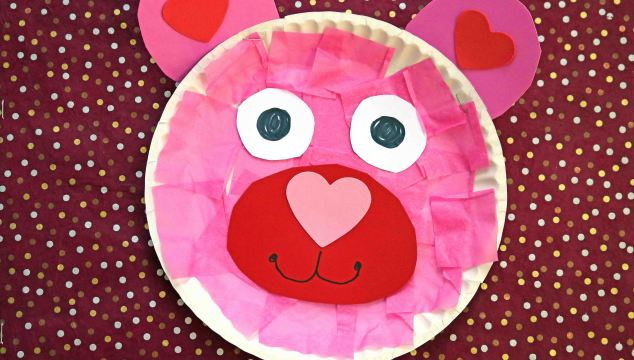 Paper Plate Valentine Bear - Kid Craft