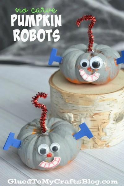 No Carve Pumpkin Robots - Halloween Kid Craft