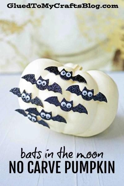 Bats in the Moon - No Carve Pumpkin Idea