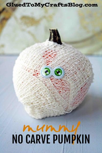 Mummy No Carve Pumpkin Idea