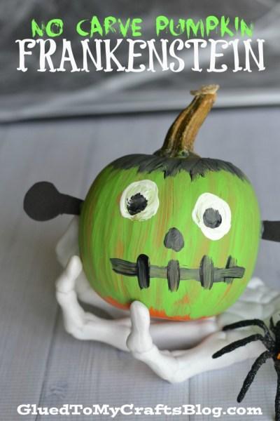 No Carve Pumpkin Frankenstein - Kid Craft