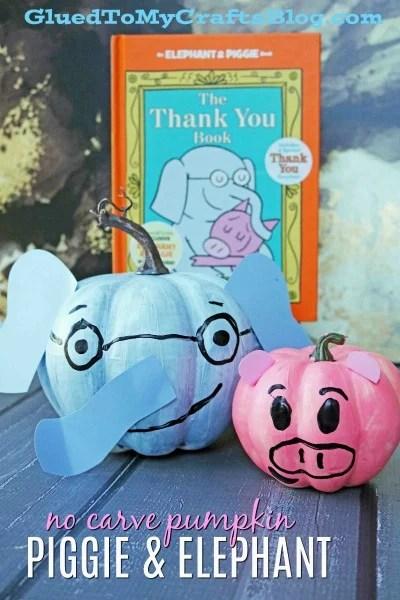 No Carve Piggie and Elephant Character Pumpkins