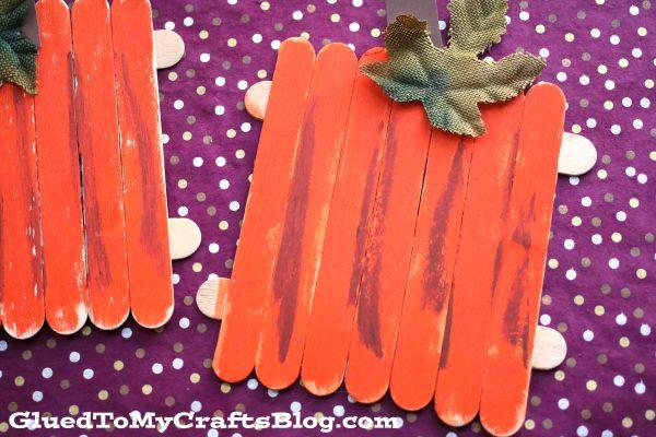 Popsicle Stick Pumpkins - Kid Craft