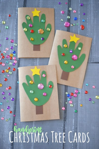 Handprint Christmas Tree Cards - Kid Craft