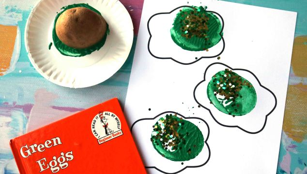 Potato Stamped Green Eggs w/free printable template