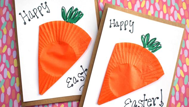 Cupcake Liner Carrot Cards - Kid Craft