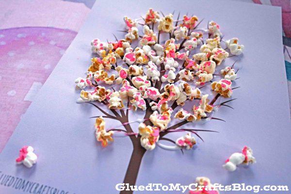 cherry blossom popcorn tree kid craft w  free printable