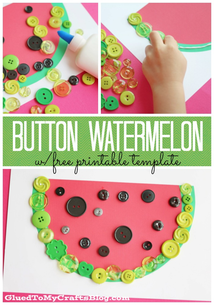 photo about Free Printable Button Templates referred to as Button Watermelon - Baby Craft w/free of charge printable