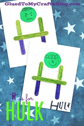 """Popsicle Stick """"H"""" is for Hulk Kid Craft Idea"""
