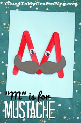 """""""M"""" is for Mustache - Popsicle Stick Kid Craft Idea"""