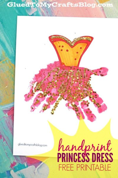 Handprint Princess Dress - Keepsake Printable