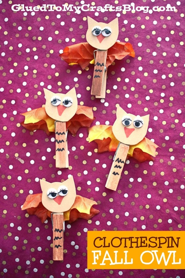 Wooden Clothespin Fall Owl Puppet Kid Craft