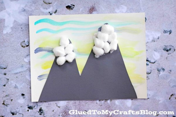 Watercolor Snowy Mountain Scene - Kid Craft