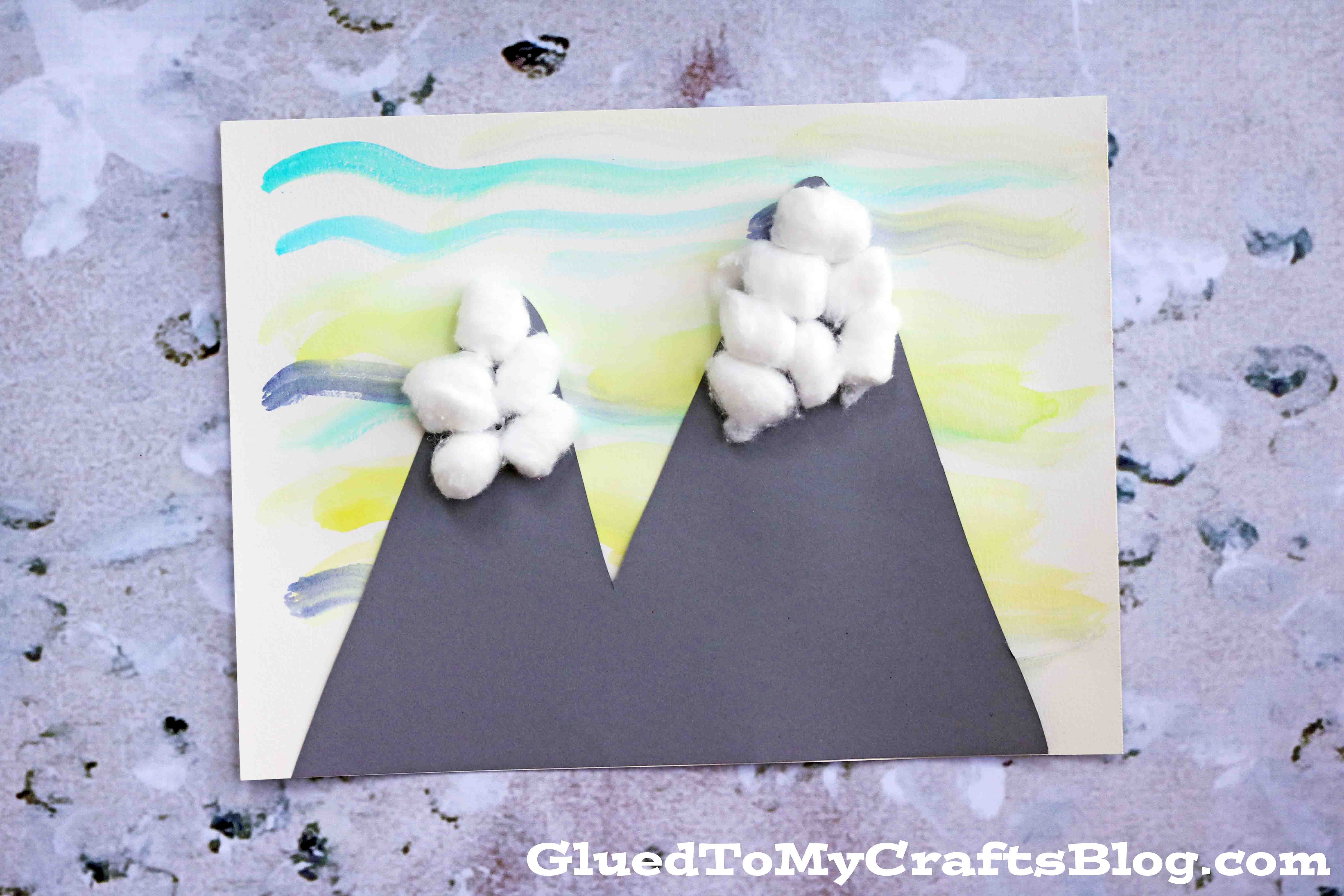 Watercolor Snowy Mountain Scene Kid Craft Glued To My