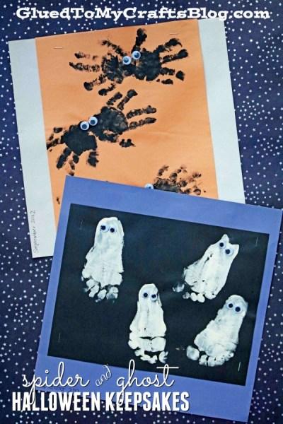 Handprint Spider and Footprint Ghost Halloween Keepsake Idea