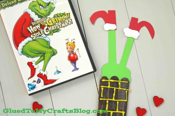 Popsicle Stick Grinch Stuck In Chimney - Kid Craft
