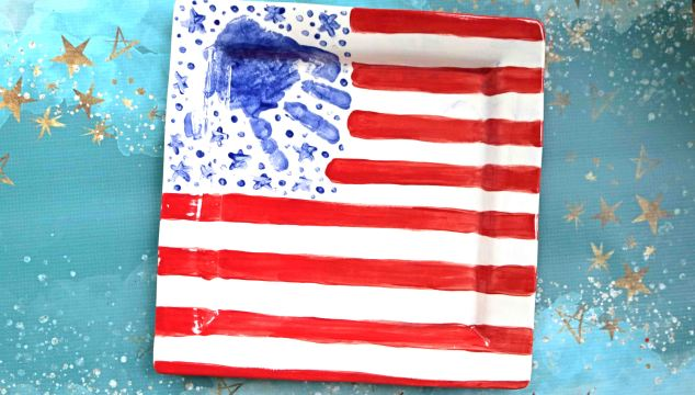 Patriotic Handprint Flag Plate - Keepsake Idea