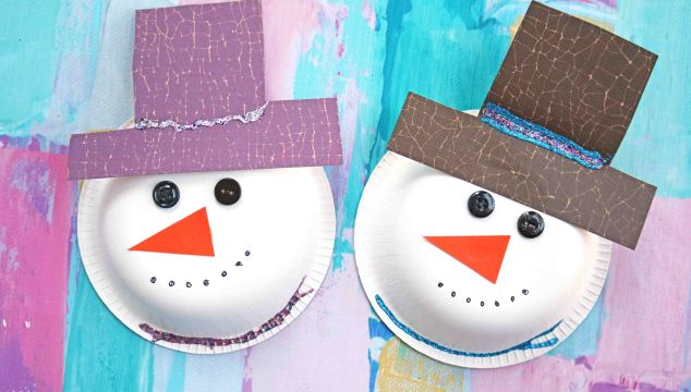 Paper Bowl Snowmen - Winter Themed Kid Craft