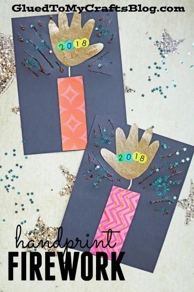 Paper Handprint Firework - Super Easy New Year's Eve Kid Craft