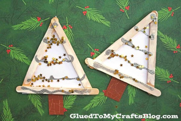Popsicle Stick Winter Trees - Kid Craft