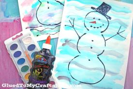 Colorful Watercolor Snowman Kid Craft Idea