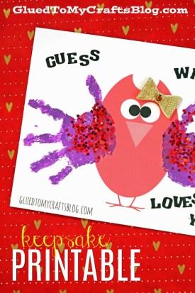 Handprint Valentine Owl - Free Printable Template