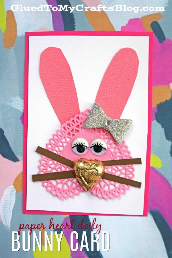 Creative Paper Heart Doily Bunny Card