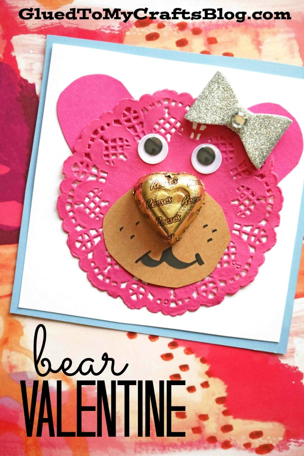 Paper Doily Bear Valentines - Classroom Party Favor Idea