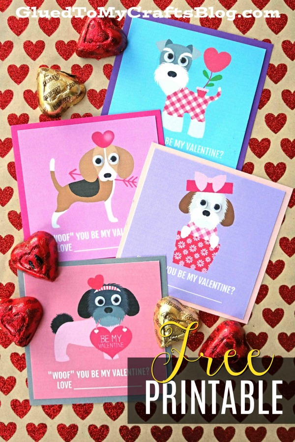 """""""Woof"""" You Be My Valentine - Gift Tag Printable"""