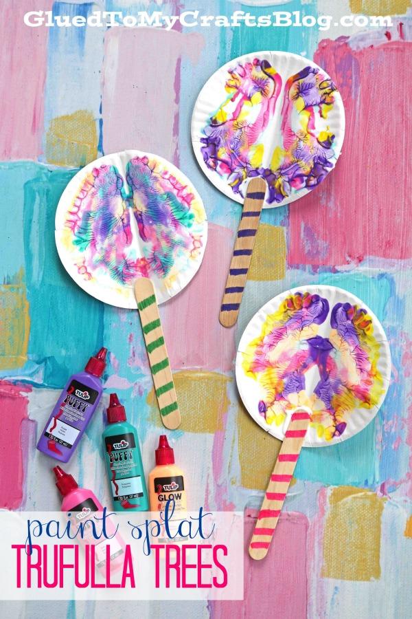 Paint Splat Truffula Trees - Dr Seuss and Lorax Kid Craft