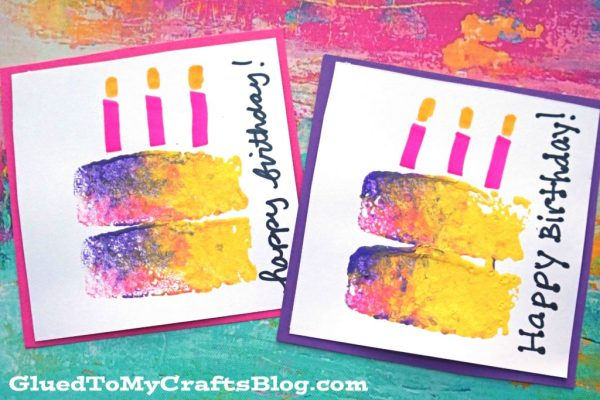 Sponge Painted Birthday Cake Cards Glued To My Crafts