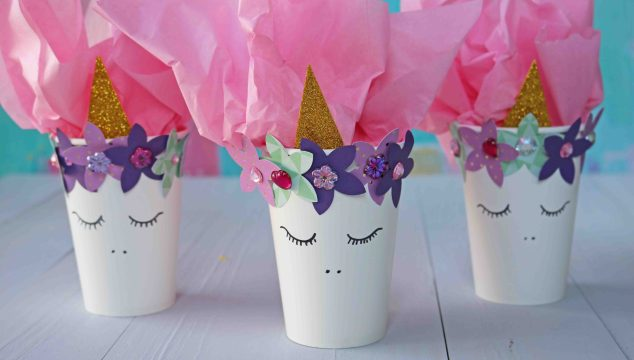 DIY Unicorn Cup Party Favor Holders