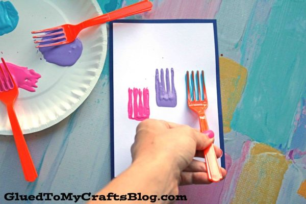 Fork Painted Flower Cards - Kid Craft