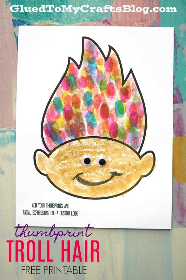 Colorful Thumbprint Troll Hair - Kid Craft w/free printable