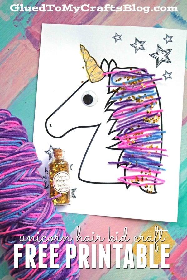 Magical Unicorn Yarn Hair Kid Craft Idea Glued To My Crafts