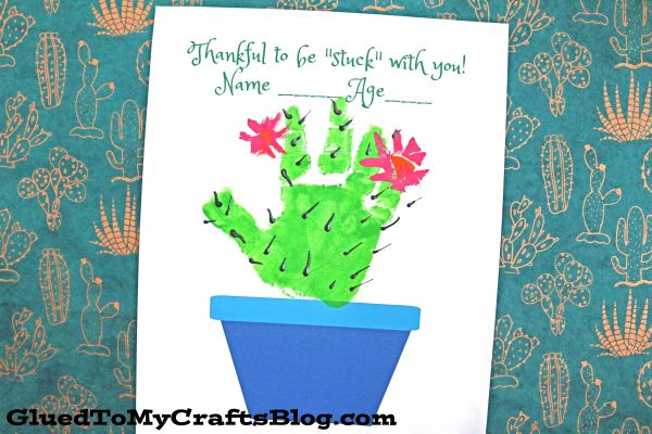 Stuck With You - Handprint Cactus Plant Printable