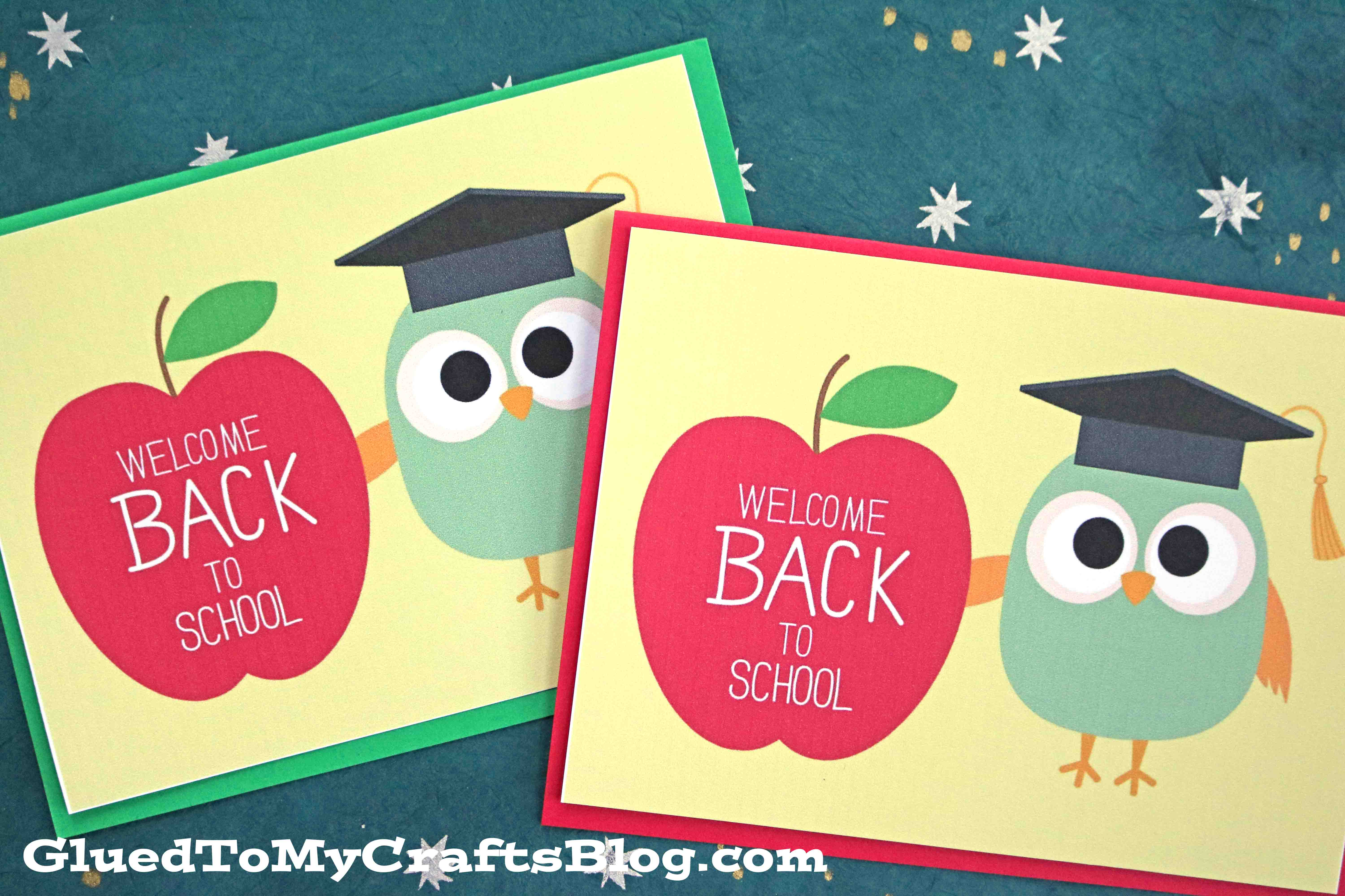 graphic about Owl Miss You Printable called Welcome Again Toward Faculty - Owl Card Printable