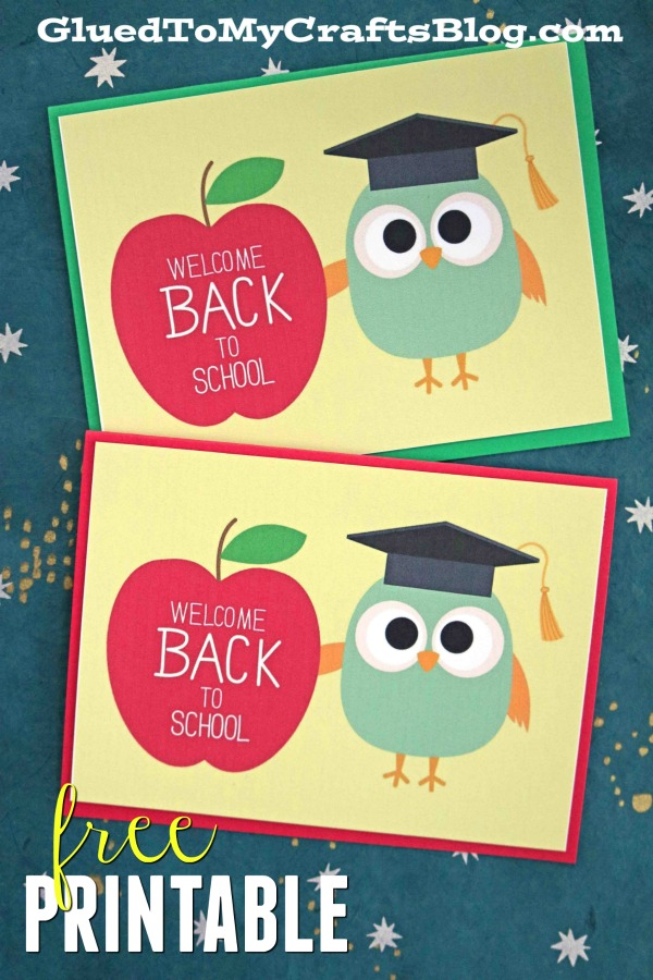 picture relating to Owl Miss You Printable known as Welcome Back again In the direction of University - Owl Card Printable