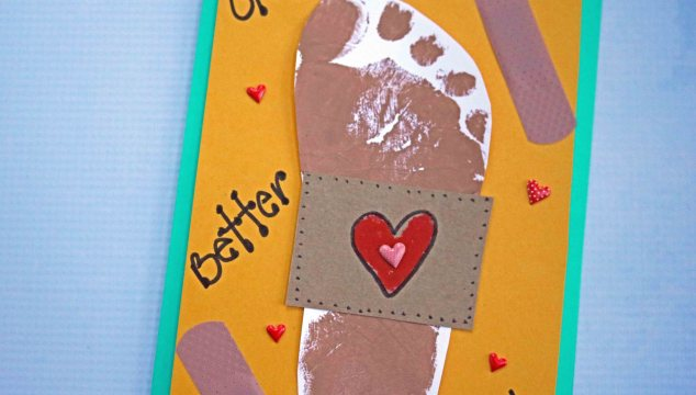 Footprint Bandaid Get Well Card – Kid Craft