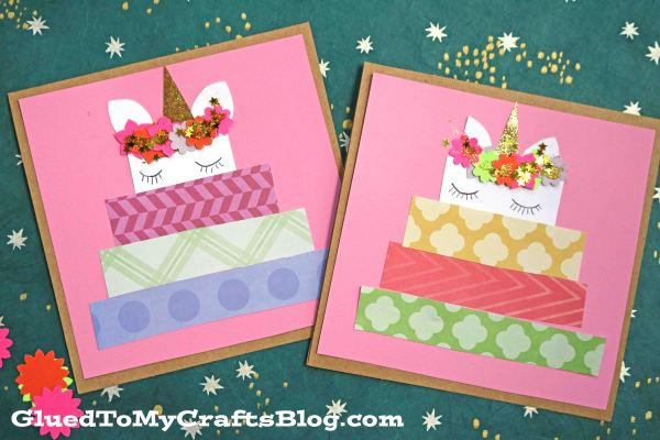 Paper Scrap Unicorn Cake Birthday Cards