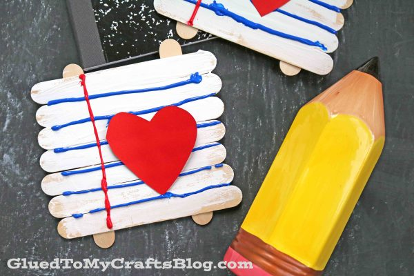 Back To School Popsicle Stick Notebook Paper - Kid Craft Idea