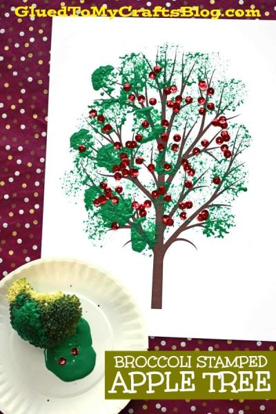Broccoli Stamped Apple Tree - Kid Craft Idea For Fall