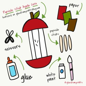 Popsicle Stick Apple Core - Kid Craft Idea