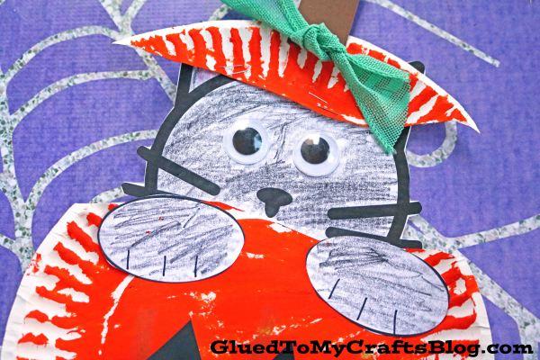 Paper Plate Black Cat In Pumpkin - Kid Craft