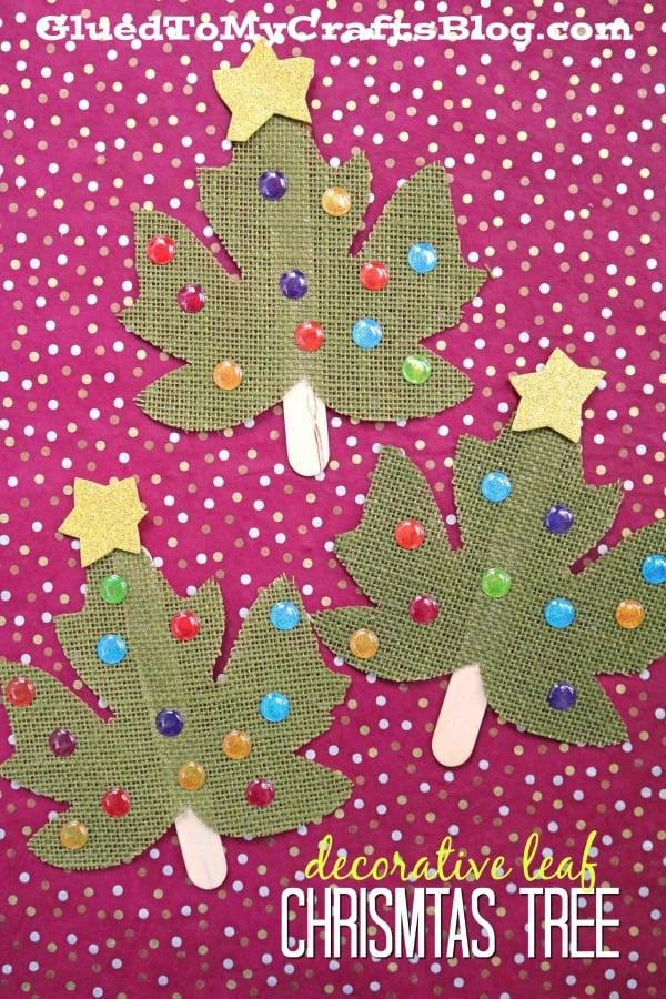 Decorative Plastic Leaf Christmas Tree - Holiday Kid Craft Idea