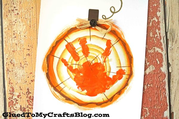 Handprint Wood Slice Pumpkin - Keepsake Printable