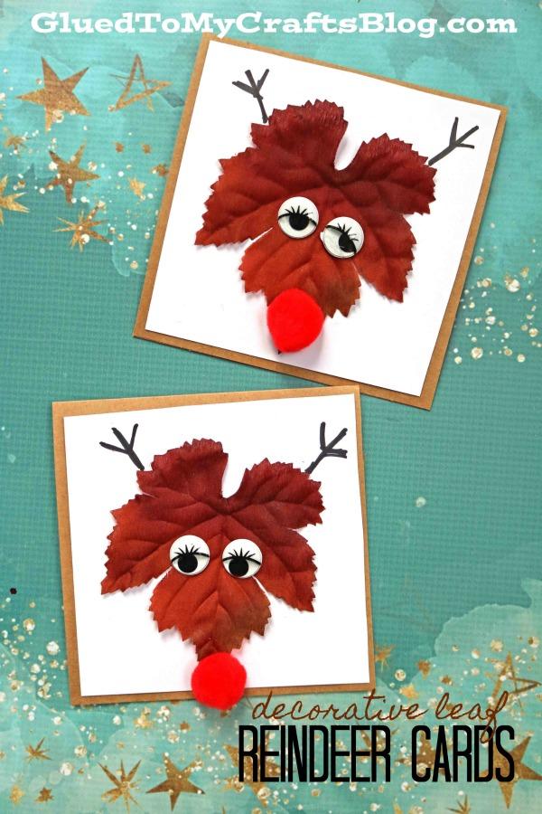 Plastic Leaf Reindeer Cards - Christmas Kid Craft