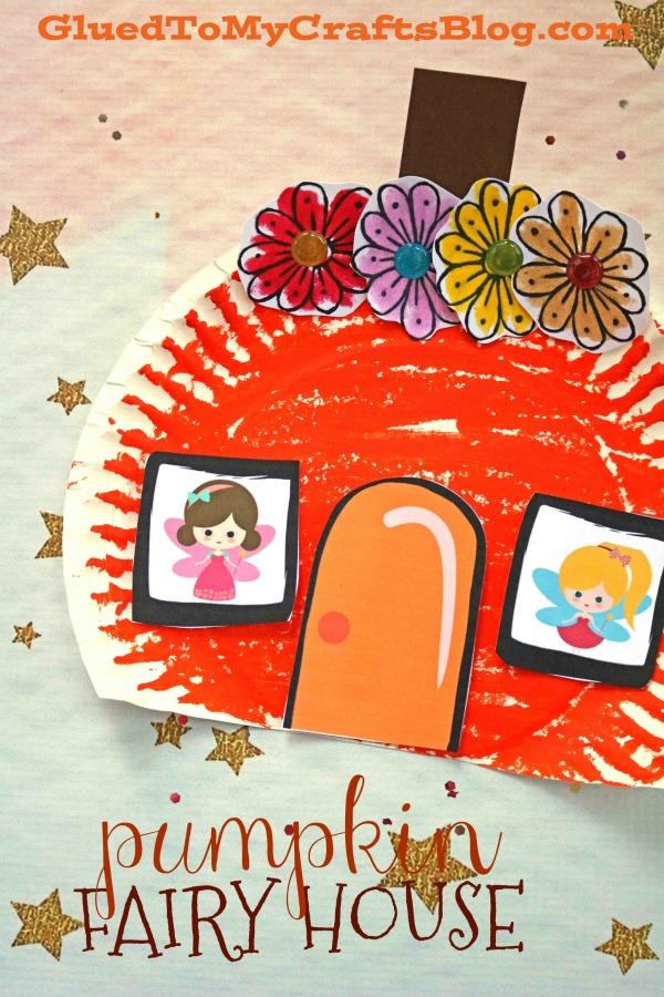 Paper Plate Pumpkin Fairy House - Kid Craft