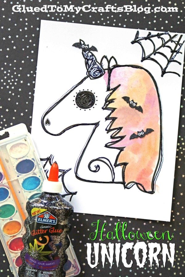 Watercolor and Black Glue Halloween Unicorn Kid Craft Idea